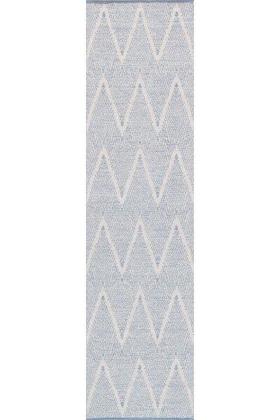 Simplicity Hand-Woven Cotton Aqua Area Rug by Pasargad