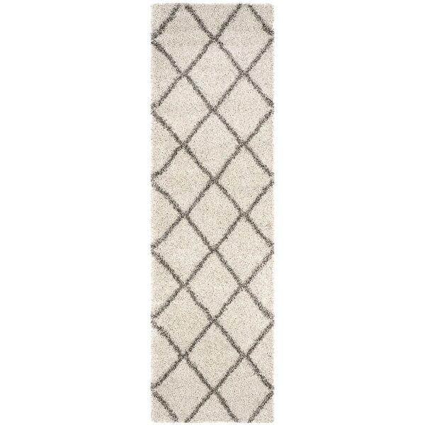 Duhon Ivory/Gray Shag Area Rug by Mercury Row