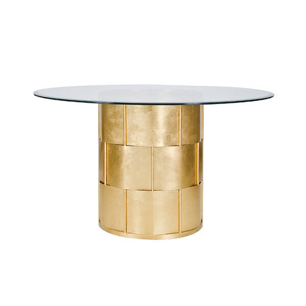Basketweave Dining Table with Glass Top by Worlds Away Worlds Away