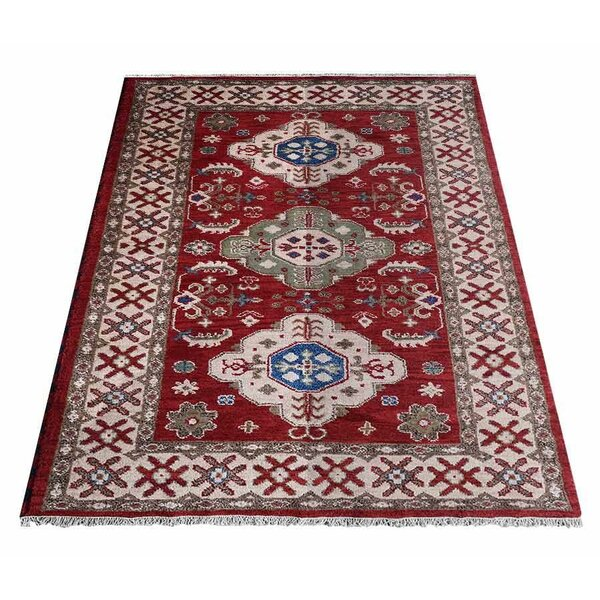 Auguste Hand-Knotted Silk Red/Cream Area Rug by Bloomsbury Market