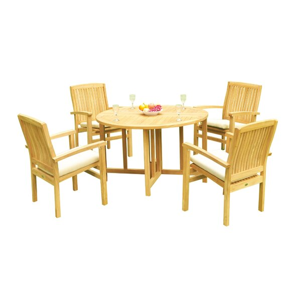 Masuda 5 Piece Teak Dining Set by Rosecliff Heights