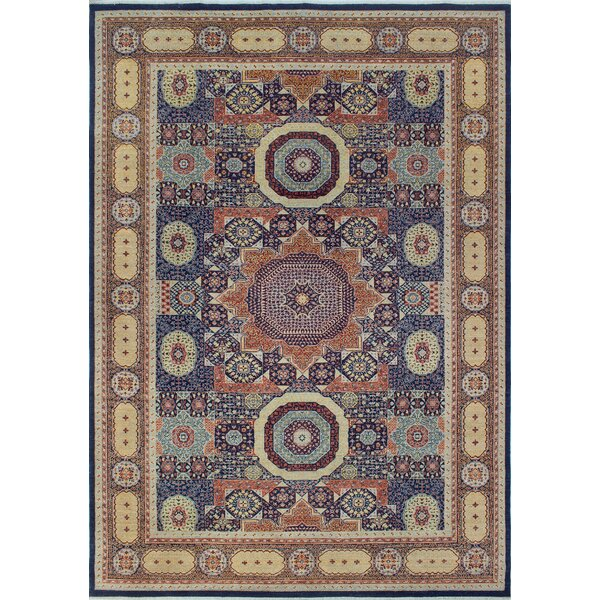 Blanca Oriental Hand Knotted Wool Blue Area Rug by Bloomsbury Market
