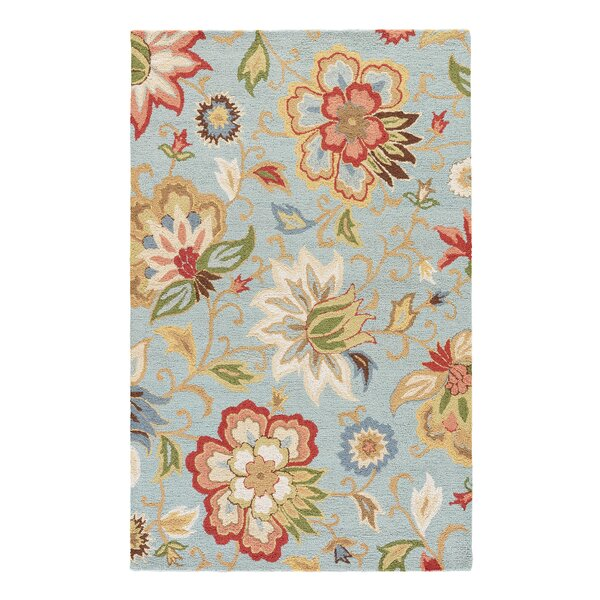 Dilbeck Light Turquoise Floral Area Rug by Darby Home Co