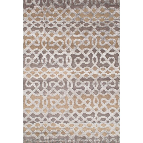 Hand-Knotted Silk Ivory Area Rug by Pasargad NY