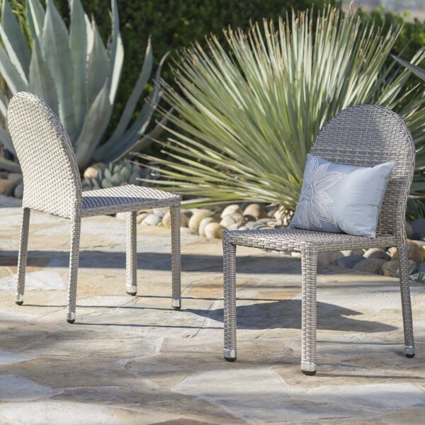 Tiernan Outdoor Stacking Patio Dining Chair (Set of 2) by Wrought Studio