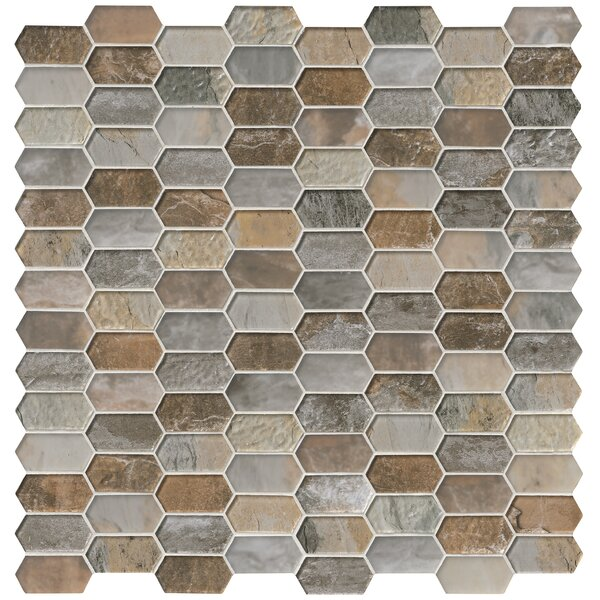 Taos Picket Pattern Random Sized Glass Tile in Brown/Gray by MSI