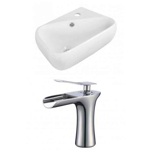 Ceramic 18 Wall Mount Bathroom Sink with Faucet and Overflow by American Imaginations