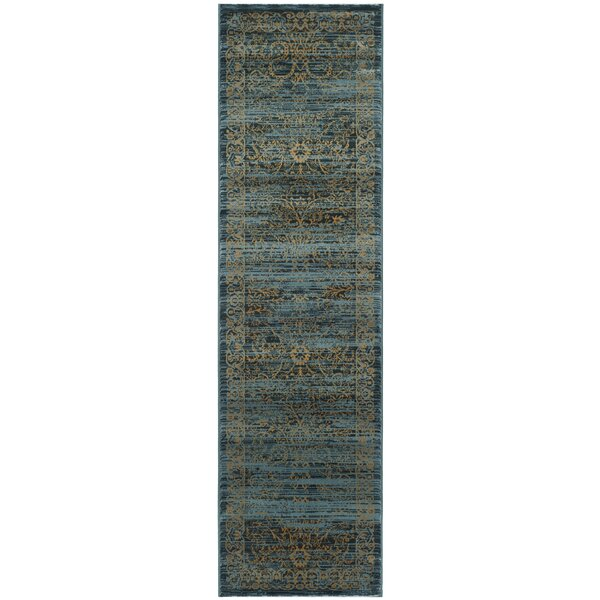Zennia Turquoise & Gold Area Rug by Bungalow Rose
