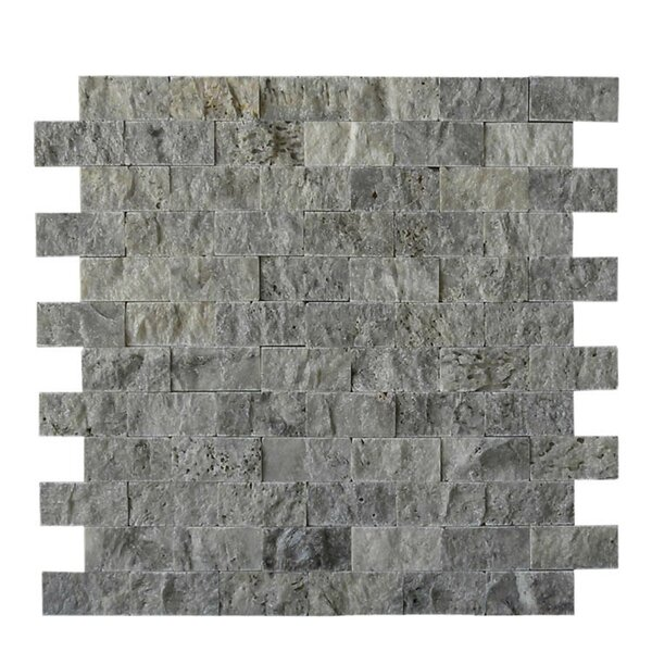 1 x 2 Natural Stone Mosaic Splitface Tile in Silver by QDI Surfaces