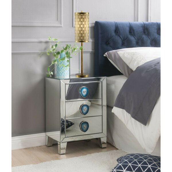 Larue Wood and Mirror 3 Drawer Nightstand by Everly Quinn