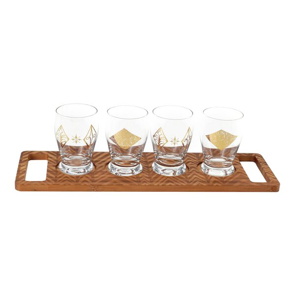 Glass and Bamboo 4 oz. 4 Piece Beer Tasting Flight Set by Floor 9