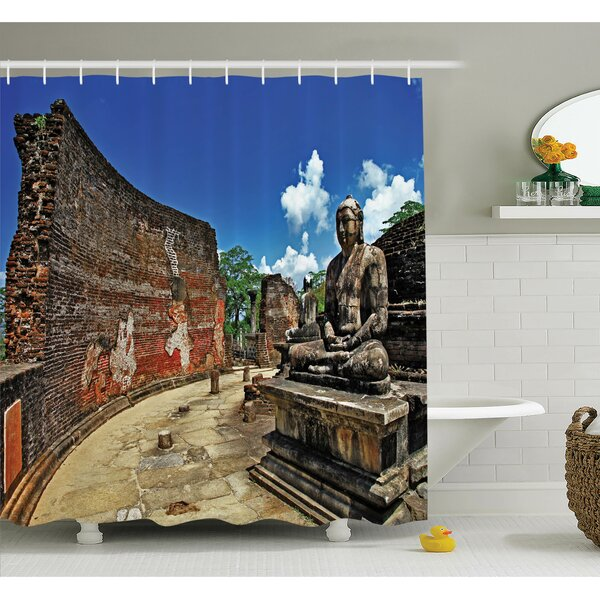 Cliff Temple Shower Curtain Set by Latitude Run