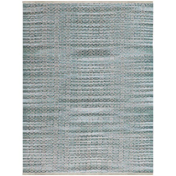 Bertrand Flat-Weave Aqua Area Rug by Bungalow Rose