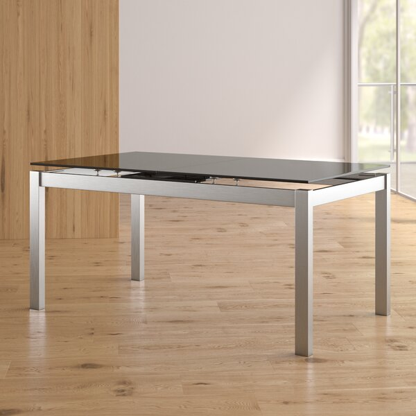 Grizzle Tempered Glass Top Extendable Dining Table by Orren Ellis