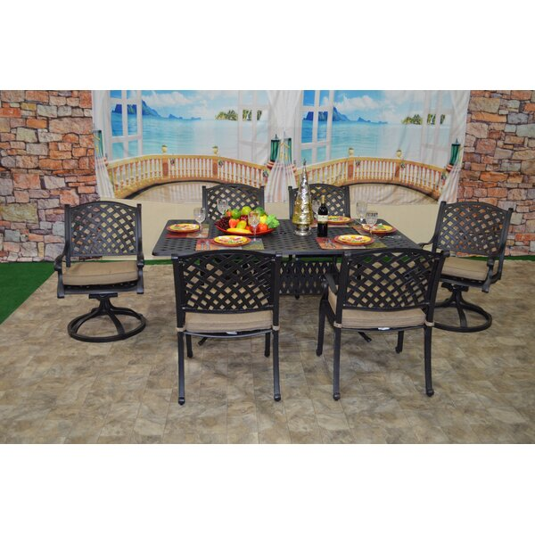 Wes 7 Piece Sunbrella Dining Set with Cushions by Darby Home Co