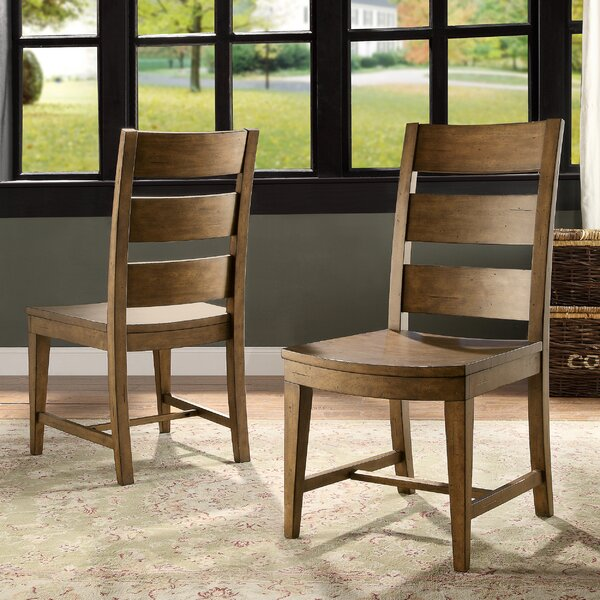 Keil Solid Wood Ladder Back Side Chair in Barnwood (Set of 2) by Gracie Oaks Gracie Oaks