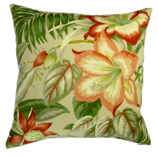 Lackey Botanical Hibiscus Flower Indoor/Outdoor Pillow by Bayou Breeze