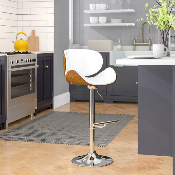 Bissett Adjustable Height Swivel Bar Stool by George Oliver
