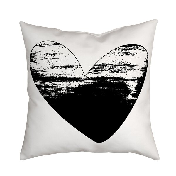 Holiday Treasures Watercolor Sketchy Love Heart Throw Pillow by Positively Home