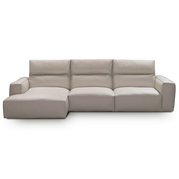 Savini Leather Left Hand Facing Sectional By Castello