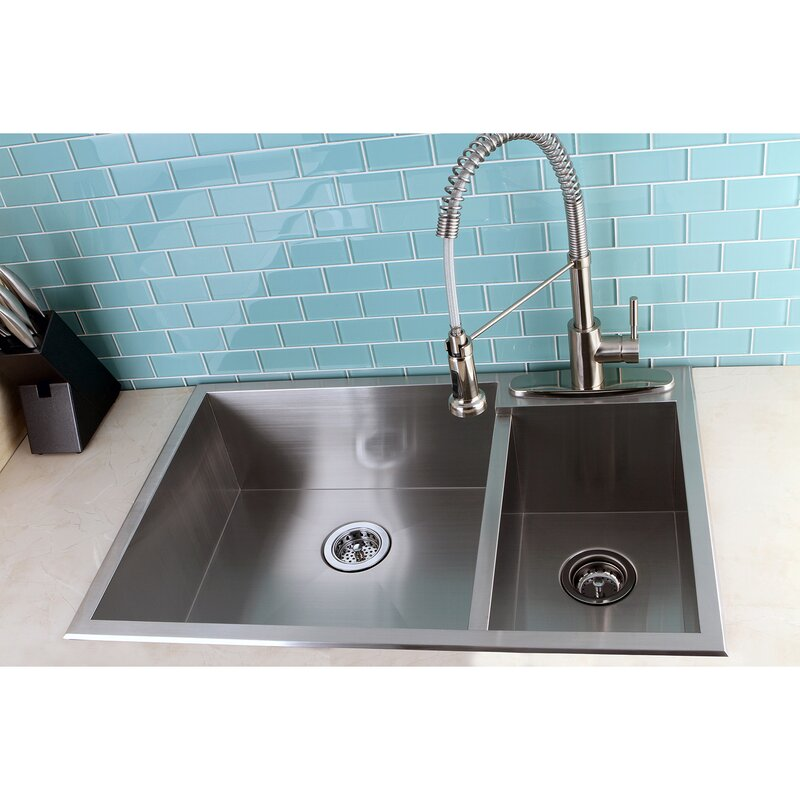 uptowne 33   x 22   self rimming 70 30 double bowl kitchen sink kingston brass uptowne 33   x 22   self rimming 70 30 double bowl      rh   wayfair com