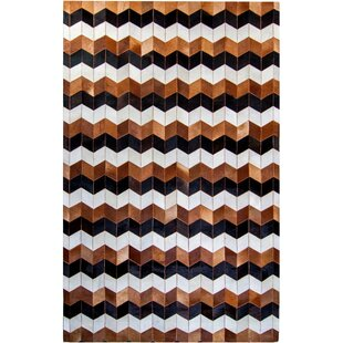 Best Reviews Columbard Hand-Woven Cowhide Brown/Black Area Rug ByFoundry Select