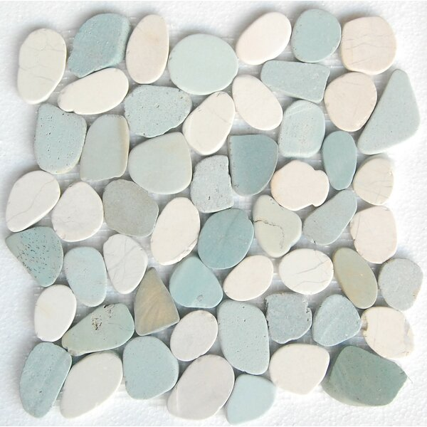 Sky Random Sized Natural Stone Mosaic Tile in Green/White