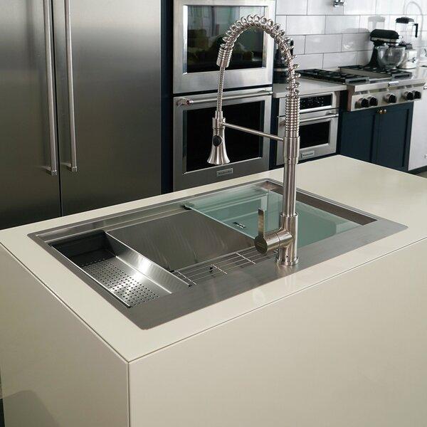 Franke 33 L x 22 W Dual Mount Kitchen Sink with Basket Strainer
