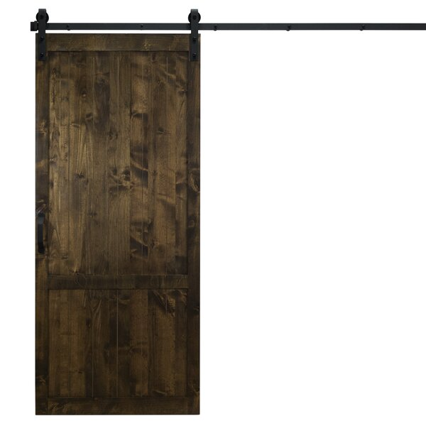 Country Vintage Solid Panel Wood Slab Interior Barn Door by Dogberry Collections