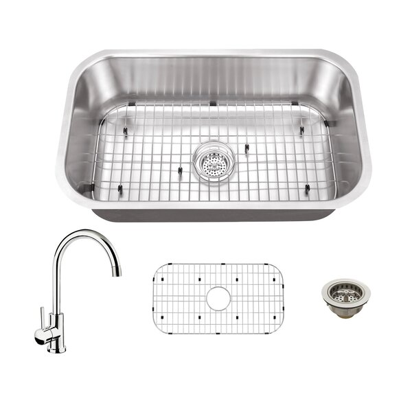 16 Gauge Stainless Steel 32 L x 18 W Undermount Kitchen Sink with Faucet by Soleil