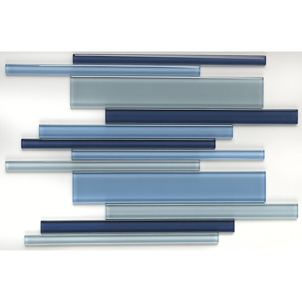 Geneva Random Sized Glass Mosaic Tile in Classic Winter Blues by Itona Tile