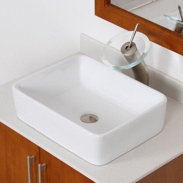Ceramic Rectangular Vessel Bathroom Sink by Elite