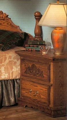 Country Heirloom 2 Drawer Nightstand with Carving by Bebe Furniture Bebe Furniture