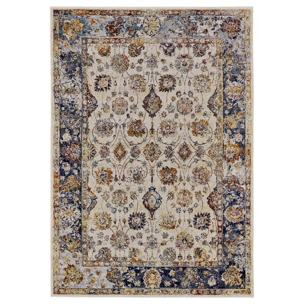 Greenwich Village Cream/Blue Area Rug by Bungalow Rose