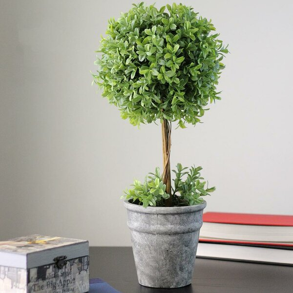 Artificial Desktop Boxwood Topiary in Pot by Gracie Oaks