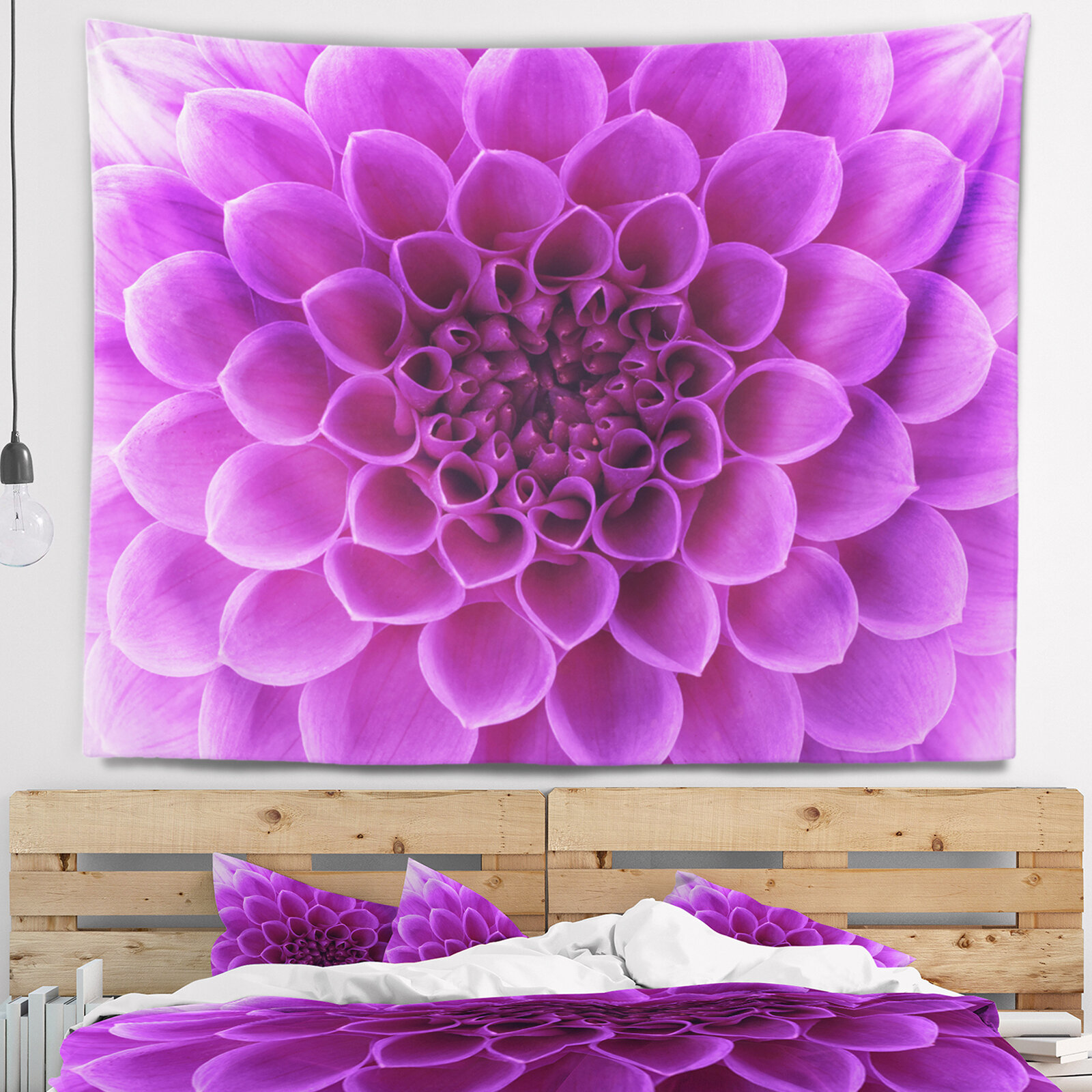 East Urban Home Floral Light Purple Flower Petals Tapestry And Wall