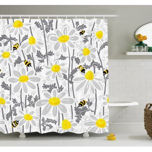 Buying Daisy Flowers with Bees in Spring Time Honey Petals Floret Nature Purity Bloom Shower Curtain Set By Ambesonne