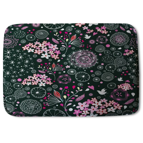 Ghia Different Flowers, Shapes and Birds Designer Bath Rug