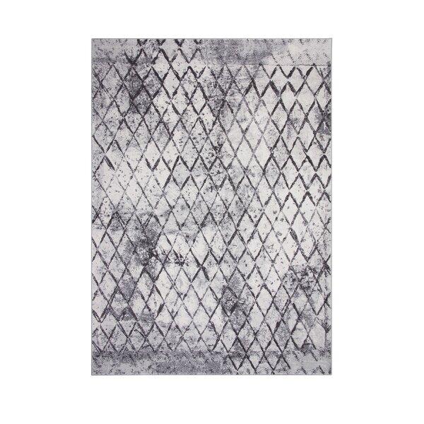 Wilken Machine Woven Synthetic Ivory/Charcoal Indoor Area Rug by Brayden Studio