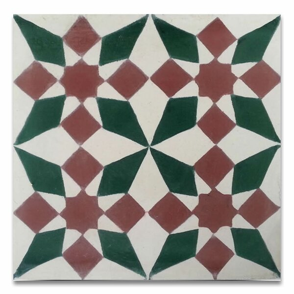 Joana 8 x 8 Handmade Cement Tile in Red/Green by Moroccan Mosaic