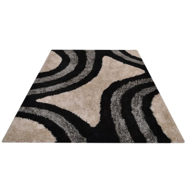 Shaunte Hand-Tufted Black/Beige Area Rug by World Menagerie