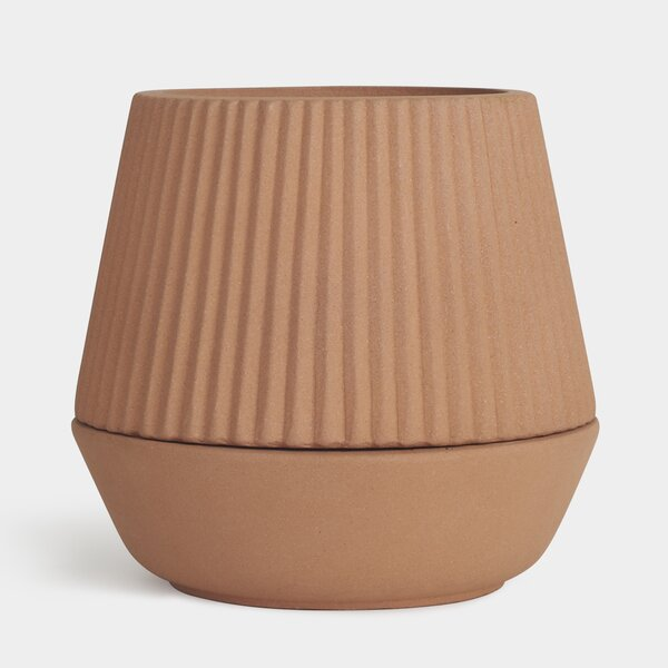 Pleated Shift Self-Watering Earthenware Pot Planter by Umbra