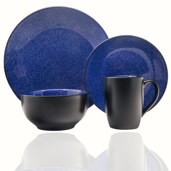 Midnight 16 Piece Dinnerware Set, Service for 4 by Red Vanilla