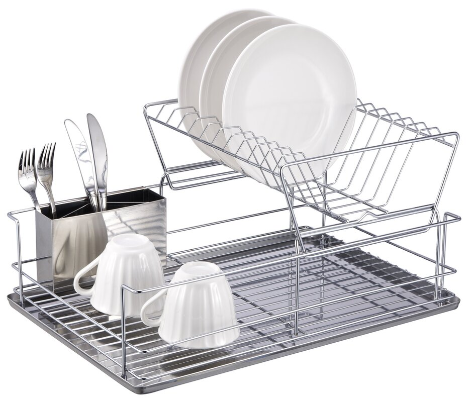 Home Basics 2 Tier Stainless Steel Dish Rack & Reviews