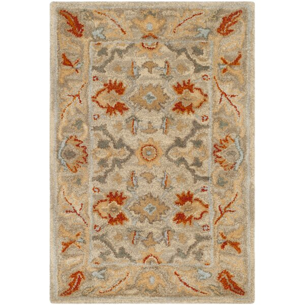Genemuiden Hand-Tufted Beige Area Rug by World Menagerie