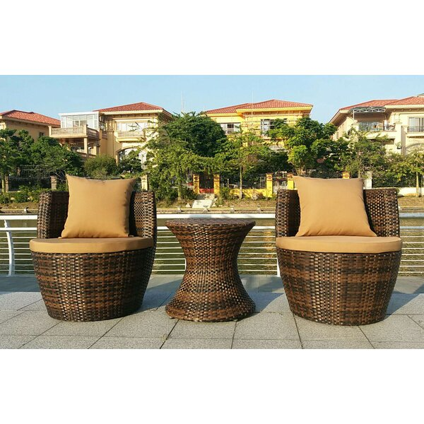 Crosswhite 3 Piece Wicker Bistro Set with Cushions by Ivy Bronx