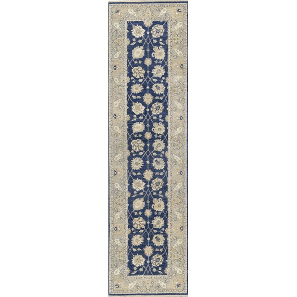 Runner Oriental Hand-Knotted Wool Blue/Gray Area Rug