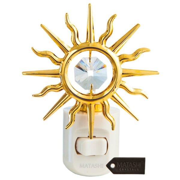 24K Gold Plated Crystal Studded Sun LED Night Light by Matashi Crystal