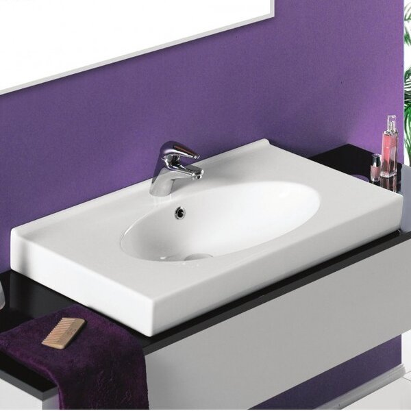 Rita Ceramic Rectangular Drop-In Bathroom Sink with Overflow by CeraStyle by Nameeks