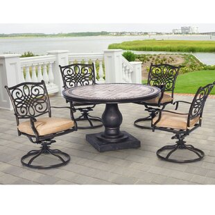 Carlee 5 Piece Dining Set with Cushion By Fleur De Lis Living